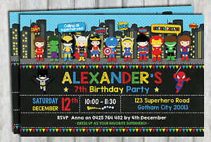superhero invitation birthday party supplies avengers invite card