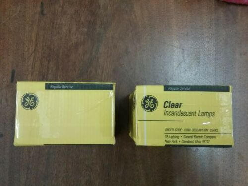 Incandescent GE 25 Watt A19 Clear regular base 2 boxes equal to 4 bulbs lot
