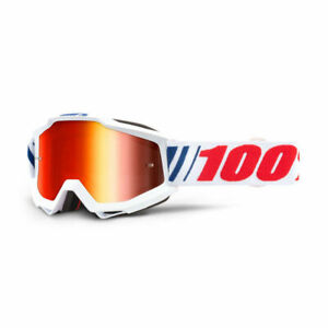 100% ACCURI GOGGLES AF066 MIRROR RED & CLEAR LENS MOTOCROSS MX CHEAP NEW WHITE