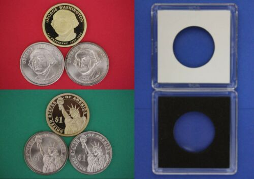2007 P D S George Washington Dollars With 2x2 Cases 3 Coins Flat Rate Shipping