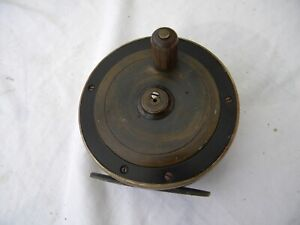 Vintage-Ebonite-and-Brass-fly-reel