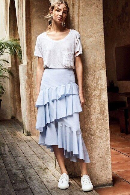 Chelsea28 XS Skirt Ruffle Midi Asymmetrical Draped Ruffle bluee White Stripes NEW