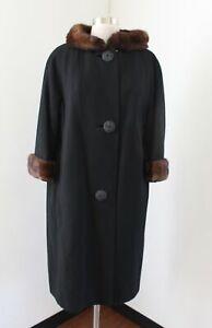 Vtg 50s 60s Black Fur Mink ? Collar Coat Jacket Fleur De Faille Retro Size S M