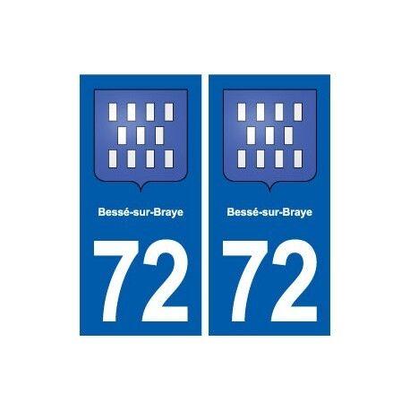 72 Bessé-sur-Braye blason autocollant plaque stickers ville -  Angles : droits