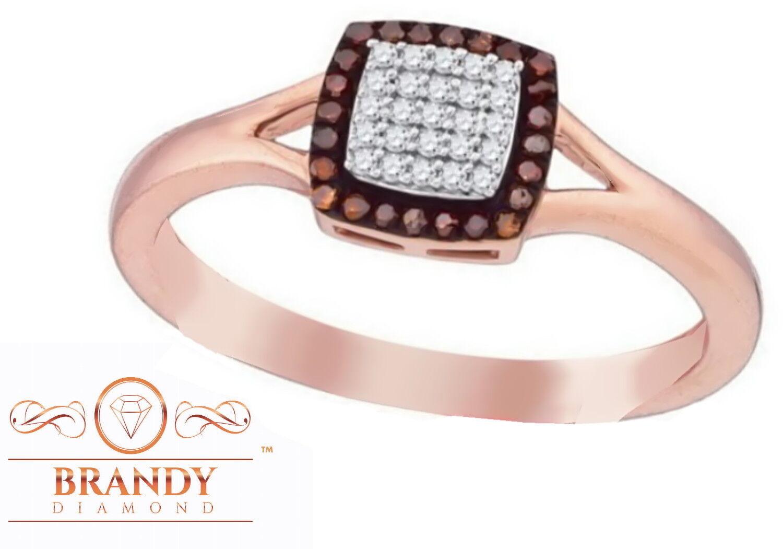 Brandy Diamond® Chocolate Brown 10K pink Beautiful Princess Ring .17Ct