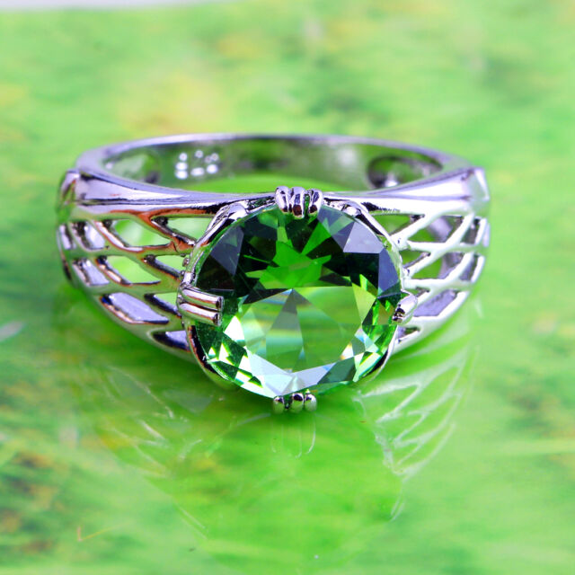 Round Cut Solitaire Green Amethyst Gemstone Silver Ring Size 6 7 8 9 10 11 12