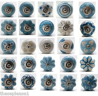 These Please Blue and White Ceramic Door Knobs Handles Drawer Stripe Polka Dot