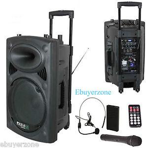 ibiza sound 800w portable pa active 15 speaker system usb mp3 wireless mics dj ebay. Black Bedroom Furniture Sets. Home Design Ideas