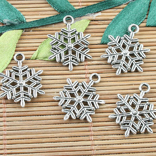 Alloy metal Tibetan Silver2sided snowflake design charms 20pcs EF0020