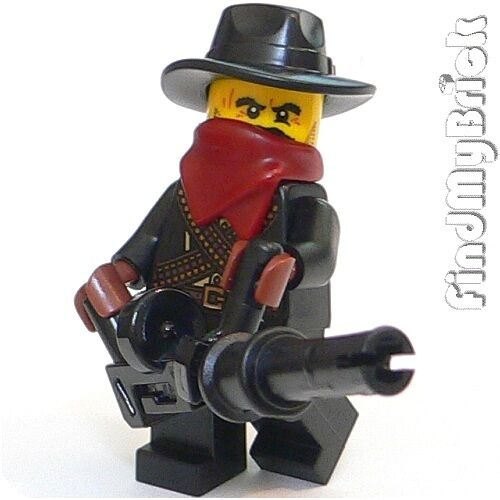 M156LG Lego Gangster Cowboy Bandit Minifigure with Large Automatic Magazine Gun