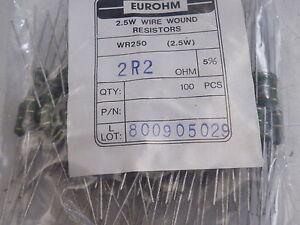 Resistencia 100 ohmios 2.5 vatios Wirewound 100R Ohms de alimentación de 2.5 W X 5 un Libre Post Ono