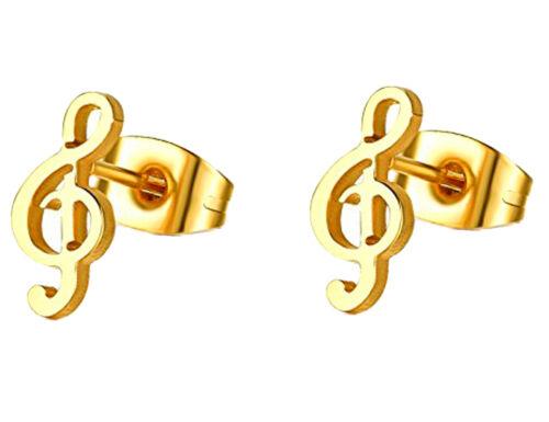 Edelstahl Notenschlüssel Ohrringe Ohrstecker 9 x 5mm 1329o 18 Karat Vergoldet