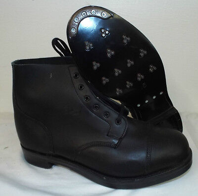 BLACK LEATHER AMMO AMMUNITION DRESS BOOTS - Size: 15 Medium British Army NEW