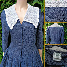 Vintage Laura Ashley Dress 14-16  Lace Collar  Edwardian  Cotton VGC Bust 42""