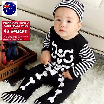 Baby Kid boy Girl Halloween Skull Skeleton Bone Party Costume Romper Bodysuit