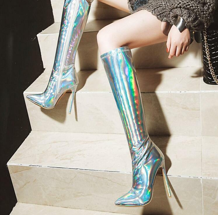 Womens Knee High Boots gold Pointed Toe Fur Lined Stilettos High Heels Shiny U79