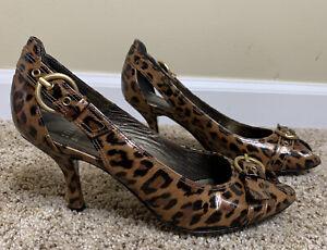 EUC-Stuart-Weitzman-Brown-Leopard-Print-Peep-Toe-Buckle-Heels-Size-6