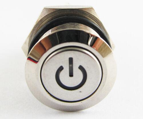 METAL DEL BLEU Bouton Poussoir Momentané Étanche Auto-Verrouillage Switch 16 mm QN16-C5