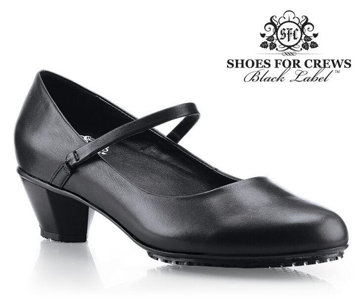 Sfc chaussures For Crews Terre de Sienne Cuir Noir Femmes Chaussures 3704 Sz