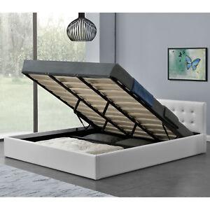 Polsterbett-Doppelbett-Kunstlederbett-Bett-Bettgestell-Lattenrost-Bettkasten-Neu