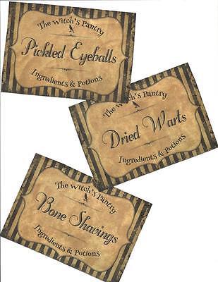 12 Vintage look LABELS~Halloween~primitive labels~The Witch pantry Vintage!
