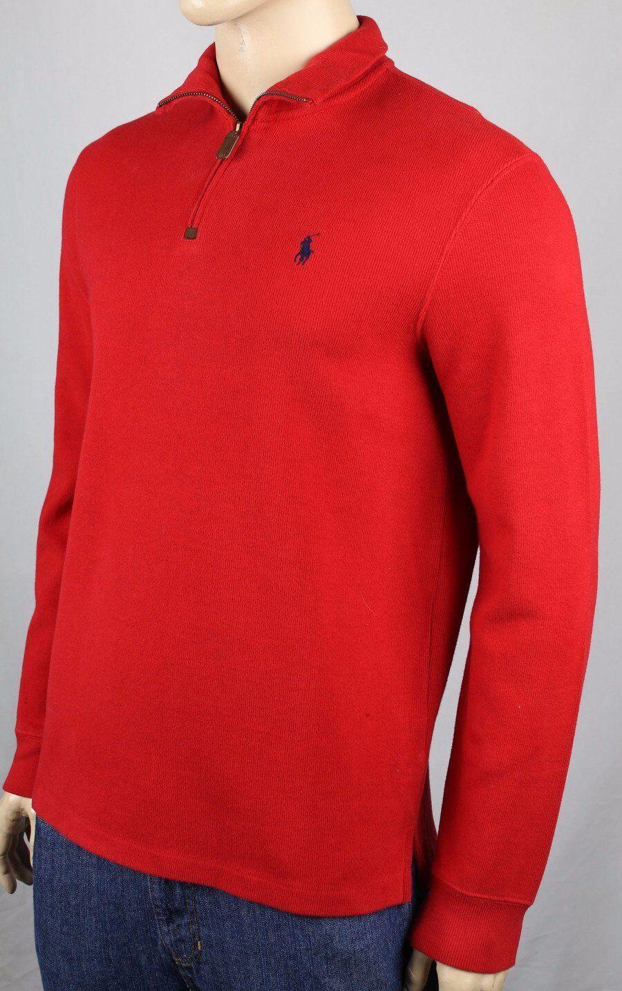 Polo Ralph Lauren Red 1 2 Half Zip Sweater bluee Pony NWT