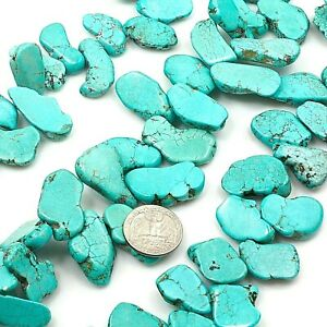 Large-Blue-Magnesite-Turquoise-Freedom-Nugget-Loose-Beads-8-034-TU378-f-25-32mm