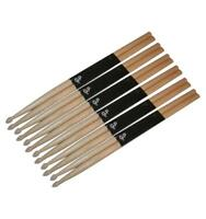 Gp Percussion Wooden Oak Drumsticks With Wooden Tips, Lot Of 12 (6 Pair), Gpds5b on sale
