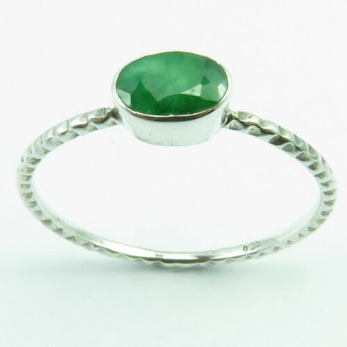 Stackable Ring Band 0.9 gm 925 SOLID Silver SIMULATED EMERALD /& Other Gemstone