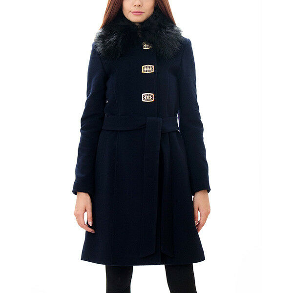 Molen Style Women's Wool and Cashmere Winter Coat Navy bluee RRP