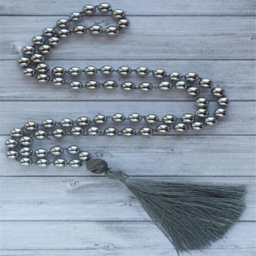8mm Hematite 108 Beads Handmade Tassel Necklace Spirituality Japa Spiritua