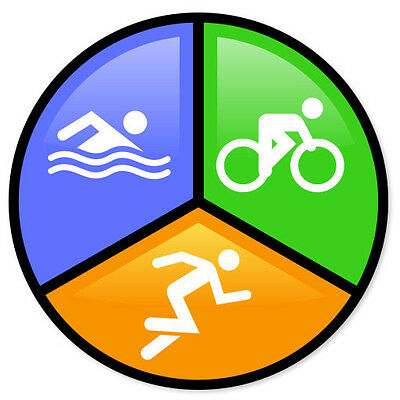 "Triathlon Run Bike Swim car bumper sticker 4/"" x 4/"""