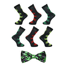 6 Pack of Marijuana Leaf Socks with Matching Satin Bow Tie