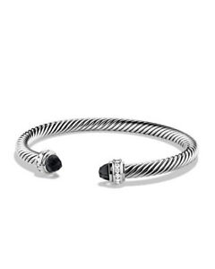David Yurman Cable Classics onyx and diamond cuff bracelet Cheap Sale Great Deals With Mastercard For Sale Discount For Sale All Size rO7Z9