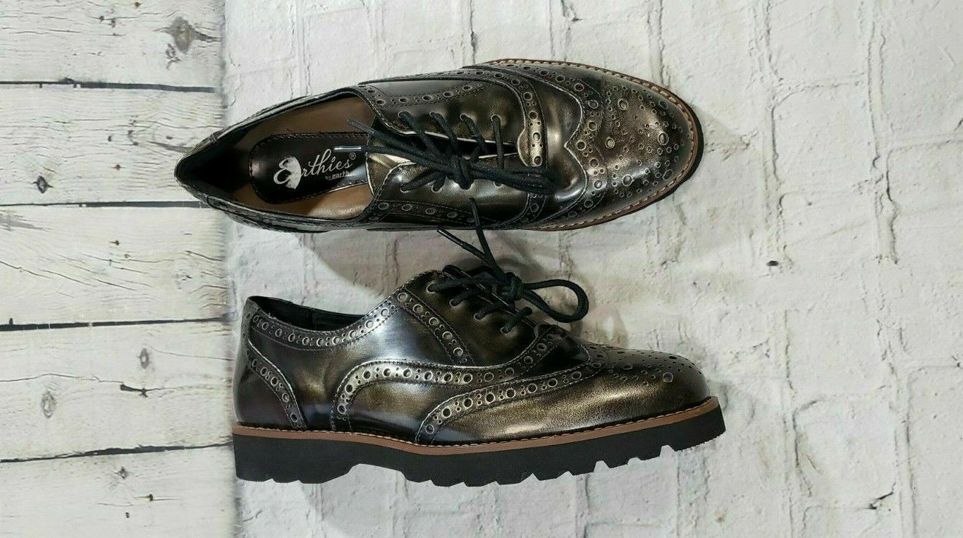 NEW Earthies Santana Pewter Oxford Wingtip Casual Dress shoes WOMEN'S SIZE 8