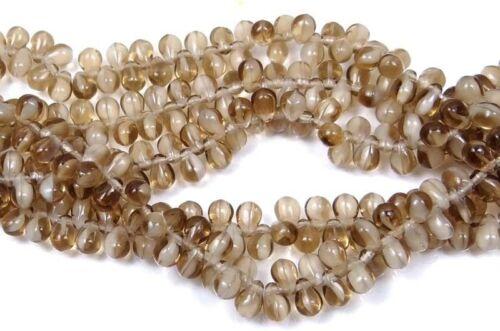 50 Czech Glass Teardrop Beads Smoky Topaz//White