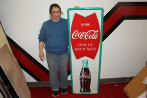 Large-Vintage-c-1960-Coca-Cola-Fishtail-Soda-Pop-Gas-Station-54-034-Metal-Sign