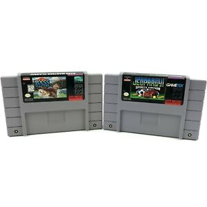 Super-Nintendo-SNES-Game-Jeopardy-Sports-Edition-Bass-Masters-Classic-Lot-of-2