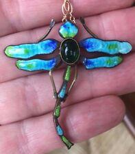 Eye Catching Antique Art Nouveau Enamel Dragonfly Pendant Necklace