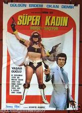 Süper Kadın Dehşet Saçıyor {Gülgün Erdem} Turkish Original Movie Poster 70s
