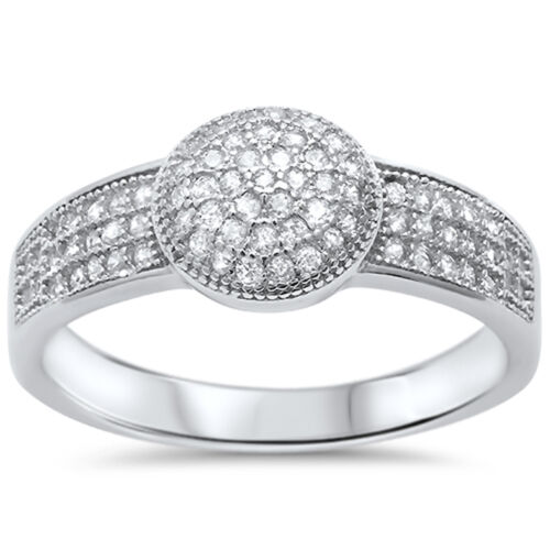 1//2CT Micro Pave Fine Cubic Zirconia .925 Sterling Silver Ring Sizes 5-10