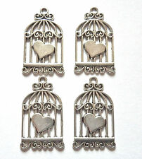20 x WHOLESALE ANTIQUE SILVER BIRDCAGE  WITH HEART DETAIL CHARM 32x20mm