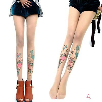 New Cute Minnie Mouse Pattern Tattoo pantyhose Stockings Women's Tights Tights