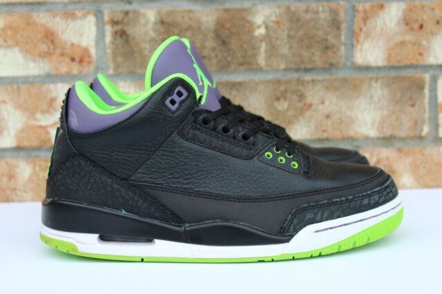 bcbdfb70d17 Men's Nike Air Jordan 3 III Retro Joker 2016 Black Green Purple Sz 8 136064-
