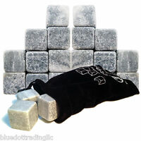 18x Whiskey Whisky Scotch Soapstone Cold Glacier Stone Ice Cube Rocks With Bag