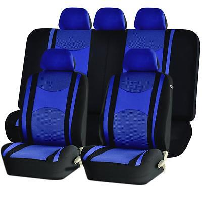 Blue Front Amp Back Split Bench Seat Covers 9pc Set For