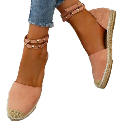 Womens Flat Espadrilles Sandals Rivet Ankle Strap Buckle Holiday Summer Shoes