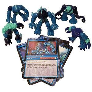 Gormiti-Sea-Tribe-Series-1-Lot-Of-5-With-Cards-Lord-Polypus-Giochi-Preziosi