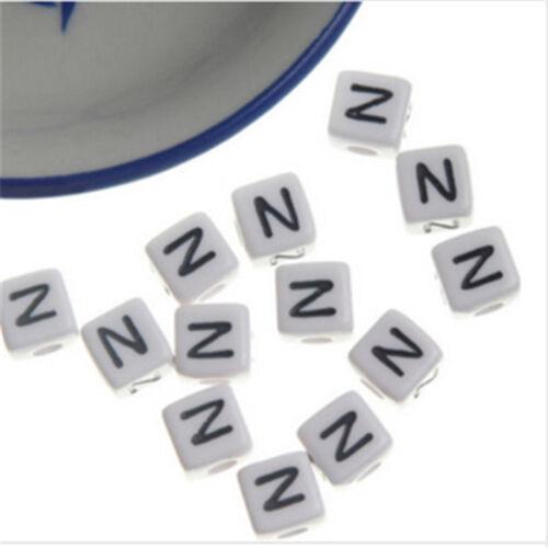 A-Z Carta Collar Pulsera Hágalo usted mismo Craft Abalorios Acrílicos 6mm 7mm 10mm 500-1000 un
