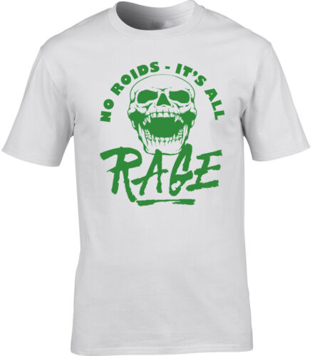 No Roids Gym Weightlifting T-Shirt It/'s All Rage Furious Skeleton Head Work Out